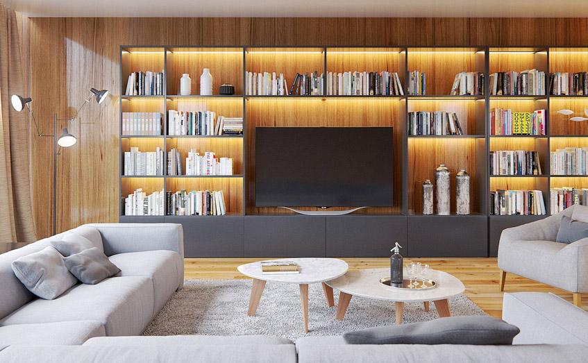 Nhà đẹp với tường gỗ