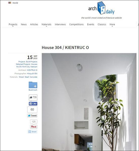 Ngôi nhà ống 42m² trên website Archdaily