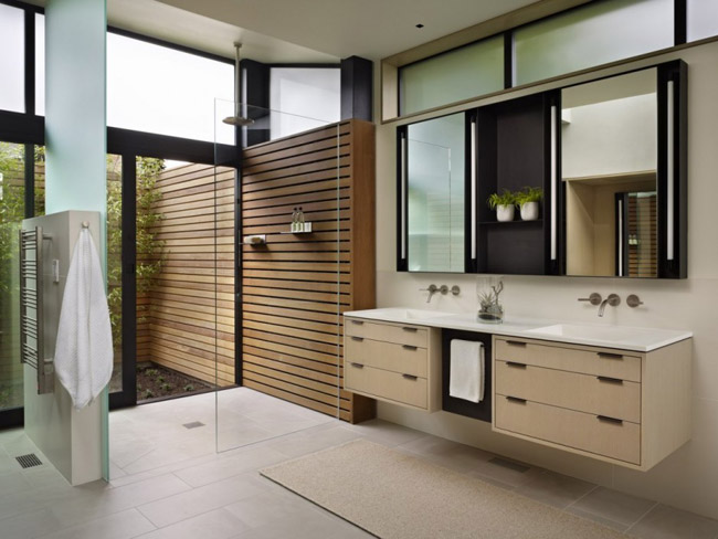 Trong hình là một ví dụ về phong cách thiết kế nội thất gỗ hiện đại với những đường nét vuông vức, khỏe khoắn kết hợp với không gian mở.