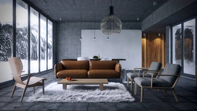 Thiết kế nội thất ấm cúng với thảm lông