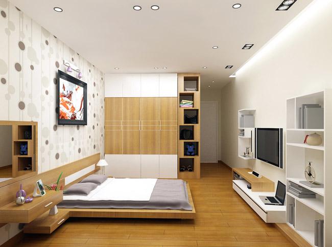 sàn gỗ được ưu tiên sử dụng ở phòng ngủ vì cảm giác ấm áp mà vật liệu này mang lại và phòng ngủ thì sàn gỗ sẽ ít bị trầy xước hơn các không gian khác