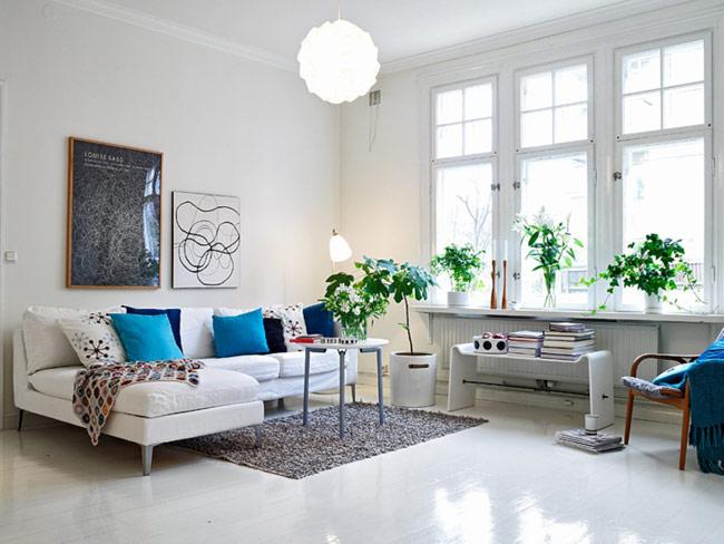 Sự xuất hiện của những chậu cây mang thiên nhiên vào nhà, tạo sức sống cho phòng khách.