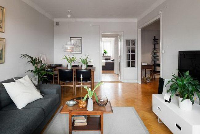 Tone đen - trắng của nội thất kết hợp hài hòa với màu sàn gỗ ấm áp.