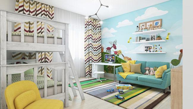 Căn phòng dành cho những em nhỏ yêu màu sắc nhẹ nhàng của thiên nhiên và động vật