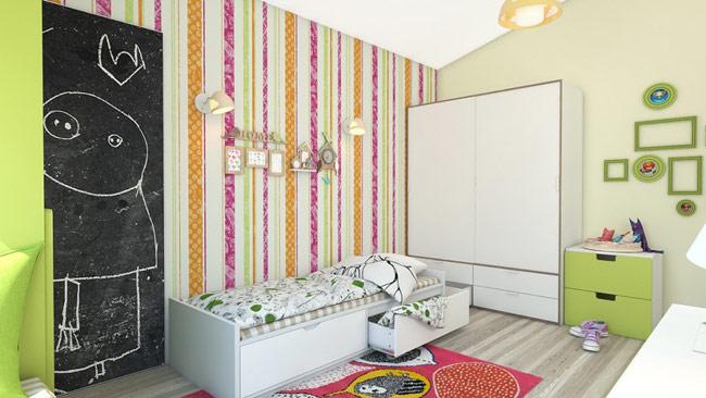 Một cô bé thích vẽ lên tường sẽ có đủ không gian để thực hiện những sáng tạo của mình lên mảng tường được bố mẹ dành riêng cho.