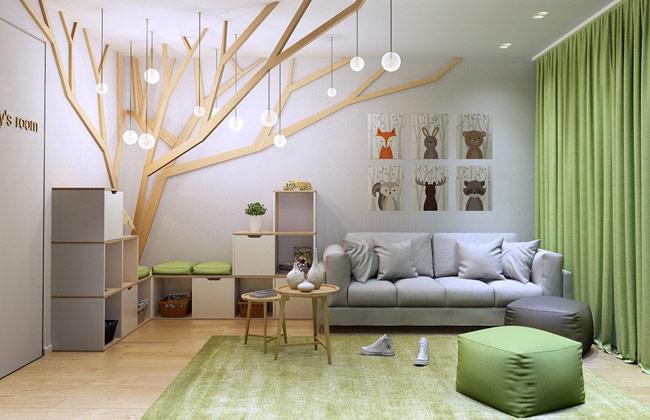 Căn phòng dành cho cậu con trai thích thiên nhiên, động vật được trang trí bằng một cây gỗ đèn độc đáo.