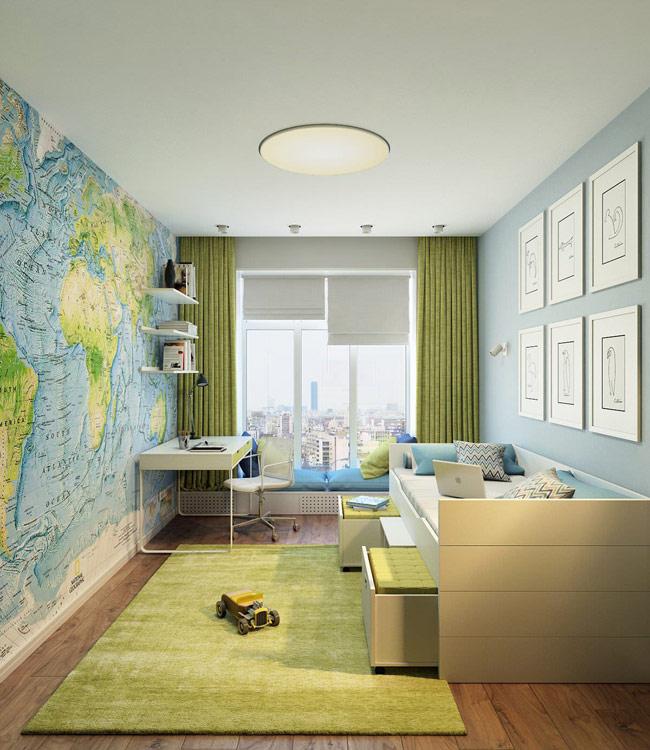 Phòng ngủ kiêm phòng học ngăn nắp của những cậu bé yêu phiêu lưu và địa lý với bức tường được khắc họa bản đồ thế giới