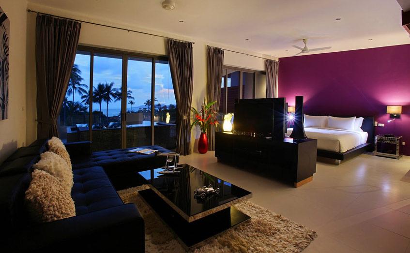 Sử dụng TV để tách không gian ngủ với không gian giải trí