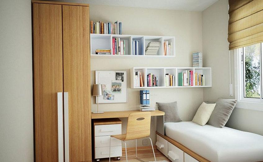 Gian phòng ngủ của bạn sẽ cực kỳ gọn gàng nếu có một chiếc giường đơn, bên cạnh là góc làm việc nhỏ xinh như này. Tuy vậy gian phòng thiết kế theo kiểu này chỉ phù hợp với người độc thân.