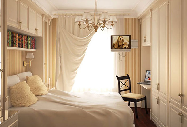 Tủ đựng quần áo là vật dụng dễ chiếm nhiều không gian trong phòng ngủ, nếu bạn không tinh tế và khéo léo. Lưu ý chọn loại tủ màu sáng để phần nào tiết kiệm không gian.
