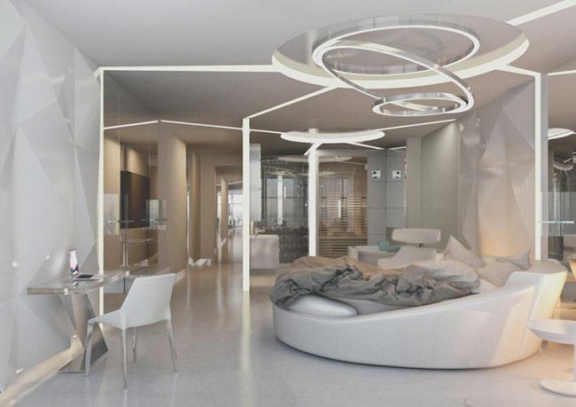 Các đường thiết kế như mặt dây chuyển vòng gãy như đường chiếu sáng mạnh mẽ xuống các bức tường tạo không gian hiện đại, năng động.