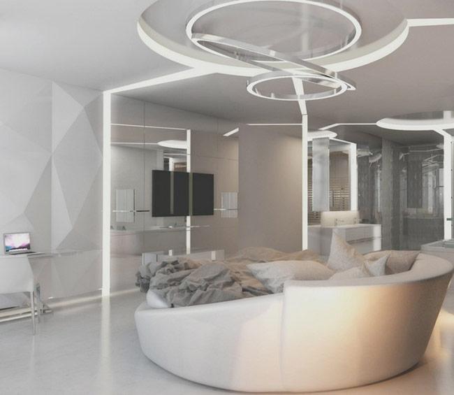 Bức tường bằng gương làm cho không gian như rộng ra vô hạn, phản ánh các không gian trong toàn bộ phòng ngủ.