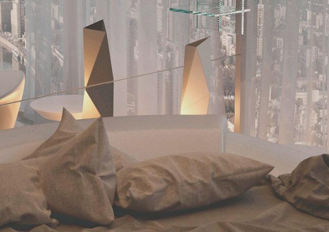 Phòng ngủ màu trắng với thiết kế sáng tạo