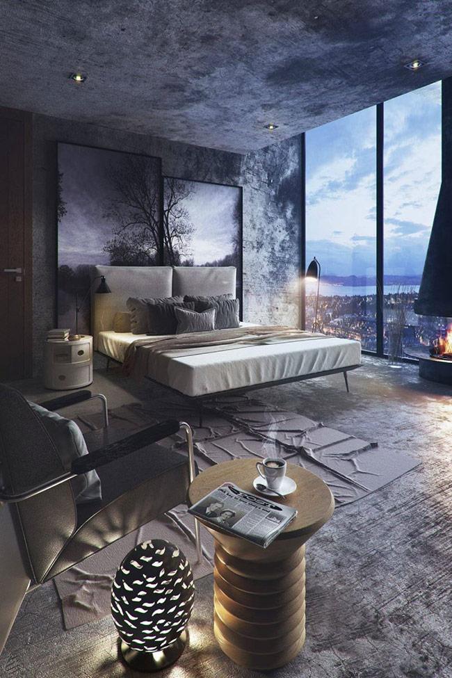 Kết cấu mạnh mẽ như một tác phẩm nghệ thuật nổi bật chính là điểm nhấn cho bầu không khí tuyệt đẹp của phòng ngủ này. Không gian của căn phòng tạo cảm giác thoải mái và mời gọi thêm một hiệu ứng ánh đèn vàng ấm áp với một bảng màu xanh mát.