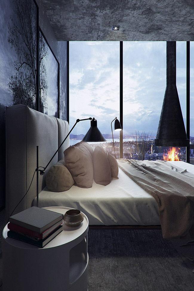 Trần và sàn nhà phối hợp với khung cảnh thiên nhiên hài hòa đến mức như bạn đang ở ngoài trời và ngắm cảnh đêm vậy.