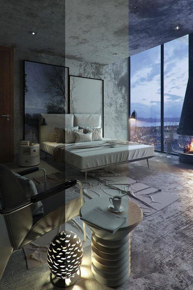 Đây là một tốt về cách sử dụng góc độ và chất lượng của ánh sáng mặt trời đến phòng ngủ. Khi nhìn theo hướng này các bề mặt sần sùi của không gian giúp chúng trở nên năng động hơn cả.