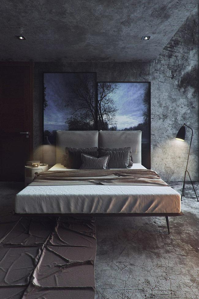 Phòng ngủ màu xanh với thiết kế mạnh mẽ, nghệ thuật