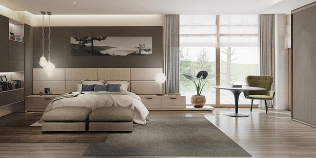 Màu sắc trung lập nói chung phù hợp nhất cho những người thích một sự đơn giản, tinh tế và thẩm mỹ. Phòng ngủ này cho thấy một chủ đề với màu sắc nhẹ nhàng, dễ dàng nâng cao tầm quan trọng của thiết kế đơn giản.