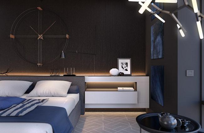 Hãy bắt đầu với một thiết kế đen đầy hiện đại. Phòng ngủ này chắc chắn tạo được sự ấn tượng lớn với màu sắc mạnh và kết cấu độc đáo.