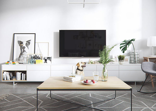 Kiểu tủ thấp với thiết kế đơn giản kéo dài được ưu ái sử dụng trong căn hộ nhờ không gian lưu trữ rộng rãi mà chúng tạo ra.