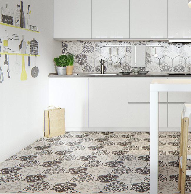 """Căn hộ còn """"xử lý"""" mảng tường đơn điệu cực hiệu quả bằng những hình vẽ đậm chất bếp núc như thế này."""
