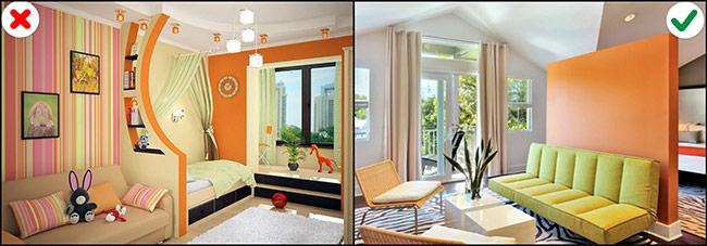 Với căn nhà có thiết kế mở thì bạn nên dùng bảng màu để phân chia từng khu vực riêng