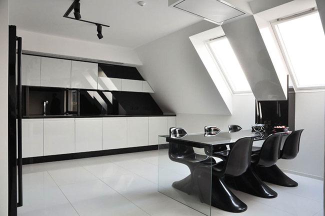 Phòng khách trang nhã với gam màu đen, trắng