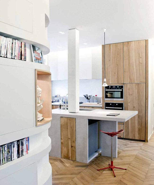 Với những không gian nhỏ, hãy thử các thiết kế giúp tăng sự thú vị. Giống như phong cách chevron này, bạn sẽ thấy tăng thêm được chiều sâu cho không gian.