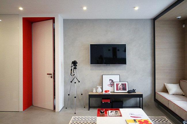 Phòng khách với điểm nhấn từ gam đỏ