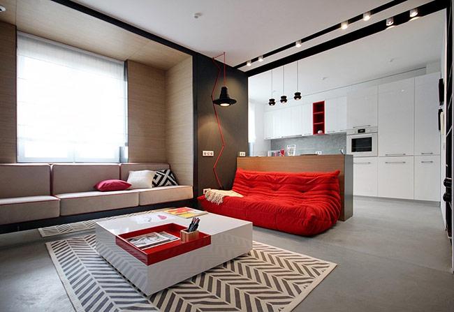Màu đỏ tăng cảm giác ấm cúng và độc đáo cho căn phòng.