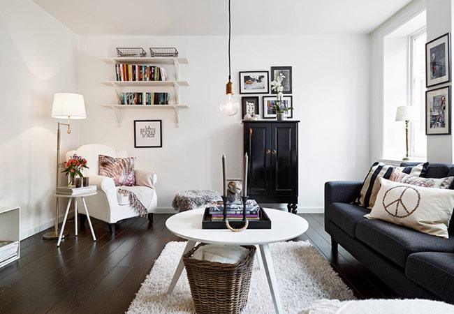 Phòng khách cá tính với điểm nhấn màu đen