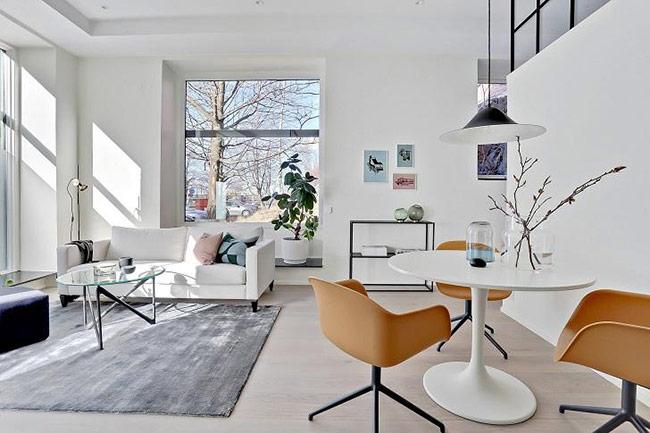 Phòng khách màu trắng tinh khôi