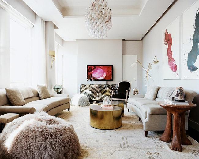tường vôi/tường thạch cao, bạn có thể dùng sơn nước hoặc giấy dán tường theo sở thích của bạn để có thể làm mới không gian tiếp khách.