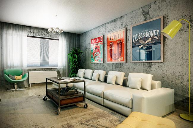 Tường bê tông là giải pháp tiết kiệm cho các gia đình, mang đến vẻ đẹp đơn giản, thuần túy mà không kém phần hiện đại cho phòng khách