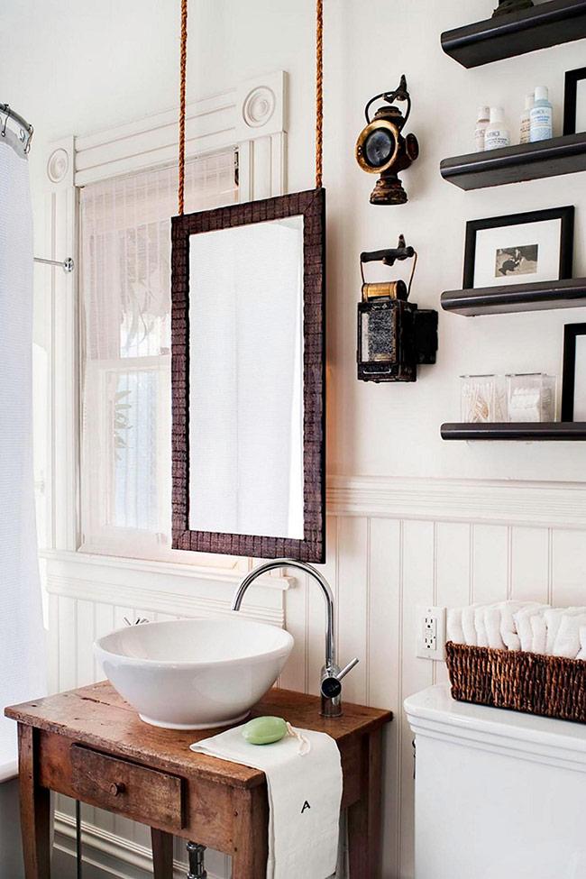 Dây chạc sẽ mang lại cảm giác gần gũi, kết hợp với khung gương bằng gỗ sẽ mang lại cảm giác rustic
