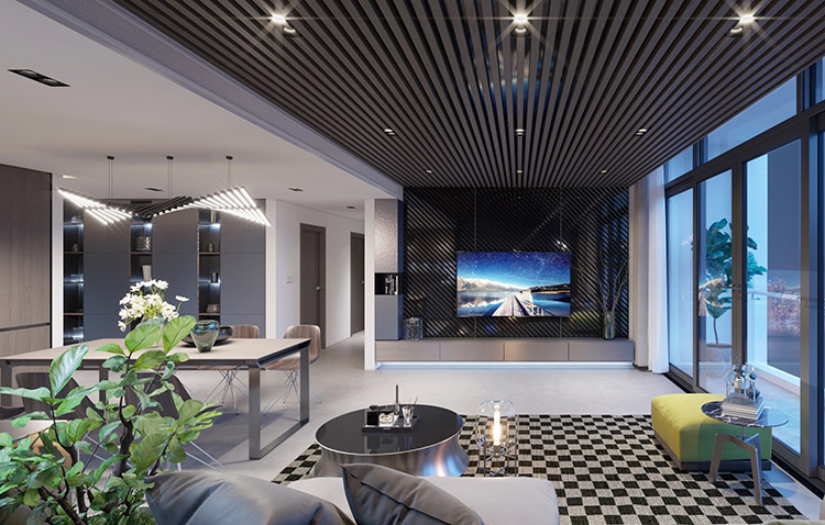 Theo đuổi xu hướng đương đại, chủ nhân căn hộ thường chú trọng vào không gian sử dụng, tạo điểm nhấn bằng những mảng màu sắc nổi bật trên gam nền trung tính trải rộng.