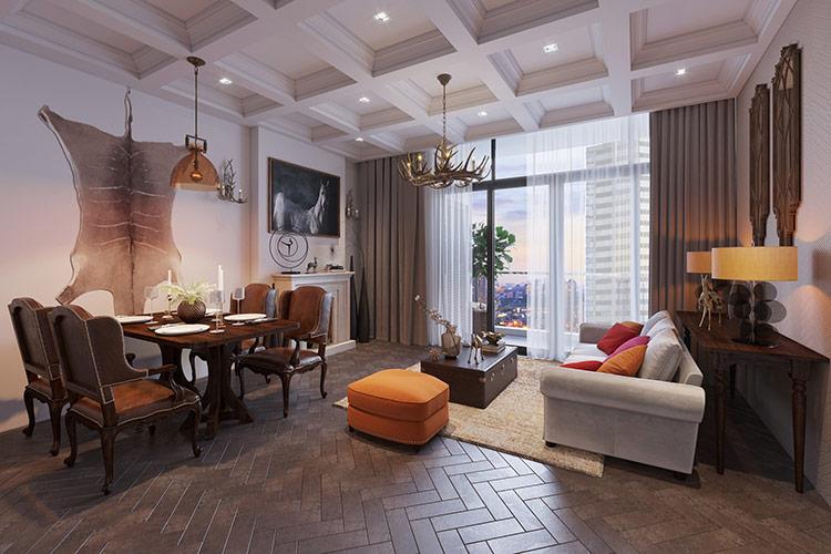 Phong cách nội thất Tây Ban Nha hướng đến việc sử dụng thiết bị có nguồn gốc tự nhiên, tông màu đất cùng một số màu sắc truyền thống như: tường trắng, trần nhà tối màu, sàn gạch đỏ hoặc nâu, tông màu cát sa mạc