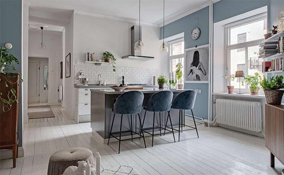 Thiết kế nội thất căn hộ phong cách Bắc Âu xanh mát